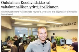 Koodiviidakko sai valtakunnallisen yrittäjäpalkinnon