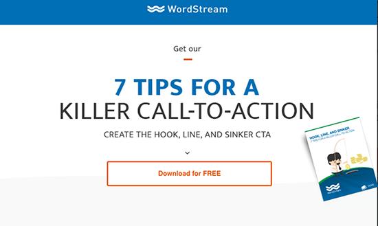 WordStreamin CTA erottuu selkeästi taustasta