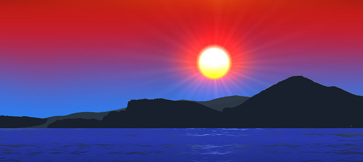 Auringonlaskun väreissä on nähtävissä punaisen ja sinisen värejä.